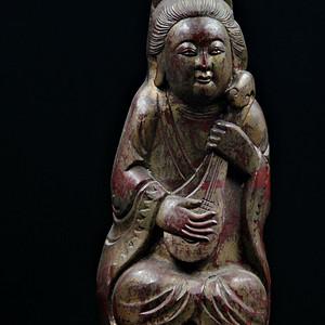 回流民国时期鎏金竹像