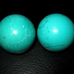 绿松石大手球一对