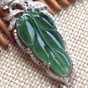 天然A货翡翠18K金钻石冰种浓绿树叶子玉坠 844