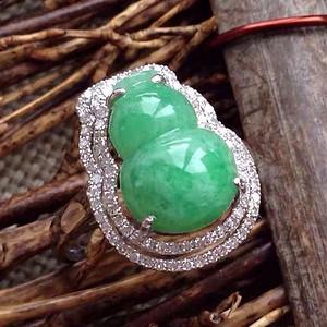 天然A货翡翠18K金钻石冰种阳绿葫芦戒指1906