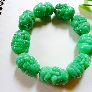 自然光实拍!天然A货好种满绿十八罗汉手链