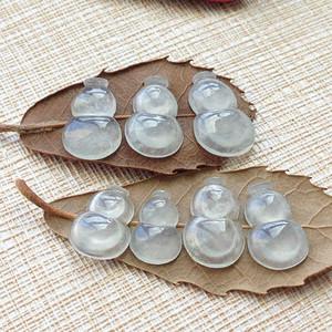 天然A货翡翠白冰种葫芦镶件七件 P2439