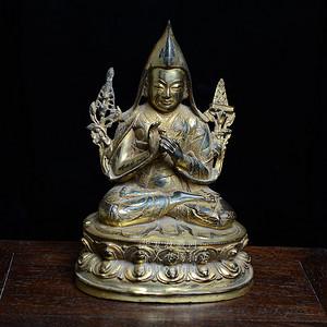 铜鎏金藏传佛像 宗喀巴造像  造像精美..开脸传神..