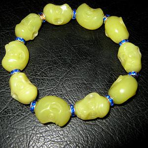东北老黄玉猴头手链