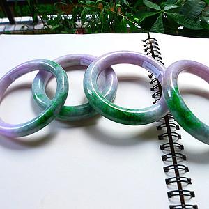 自然光实拍!天然A货好种紫加阳绿手镯一手四条