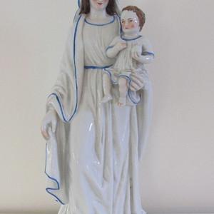 十九世纪末二十世纪初欧洲圣母玛利亚和她的圣子雕像 欧洲直邮