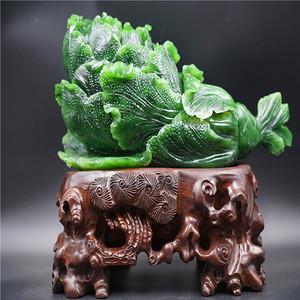 和田菠菜绿碧玉白菜摆件 带底座清货