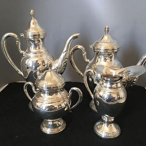 欧洲直邮 20世纪中期欧洲银800咖啡茶饮四件套1282g