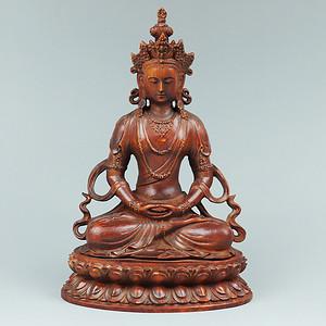 藏黄杨木雕白度母佛像摆件
