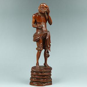 收藏黄杨木雕人物摆件