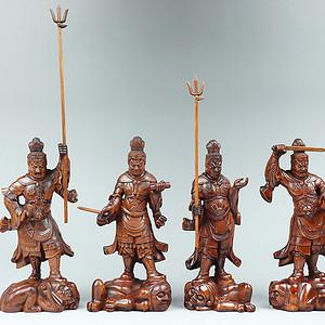收藏黄杨木雕四大天王人物摆件