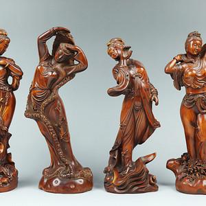 收藏黄杨木雕四大美女人物摆件