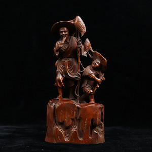 黄杨木雕渔翁得利人物摆件
