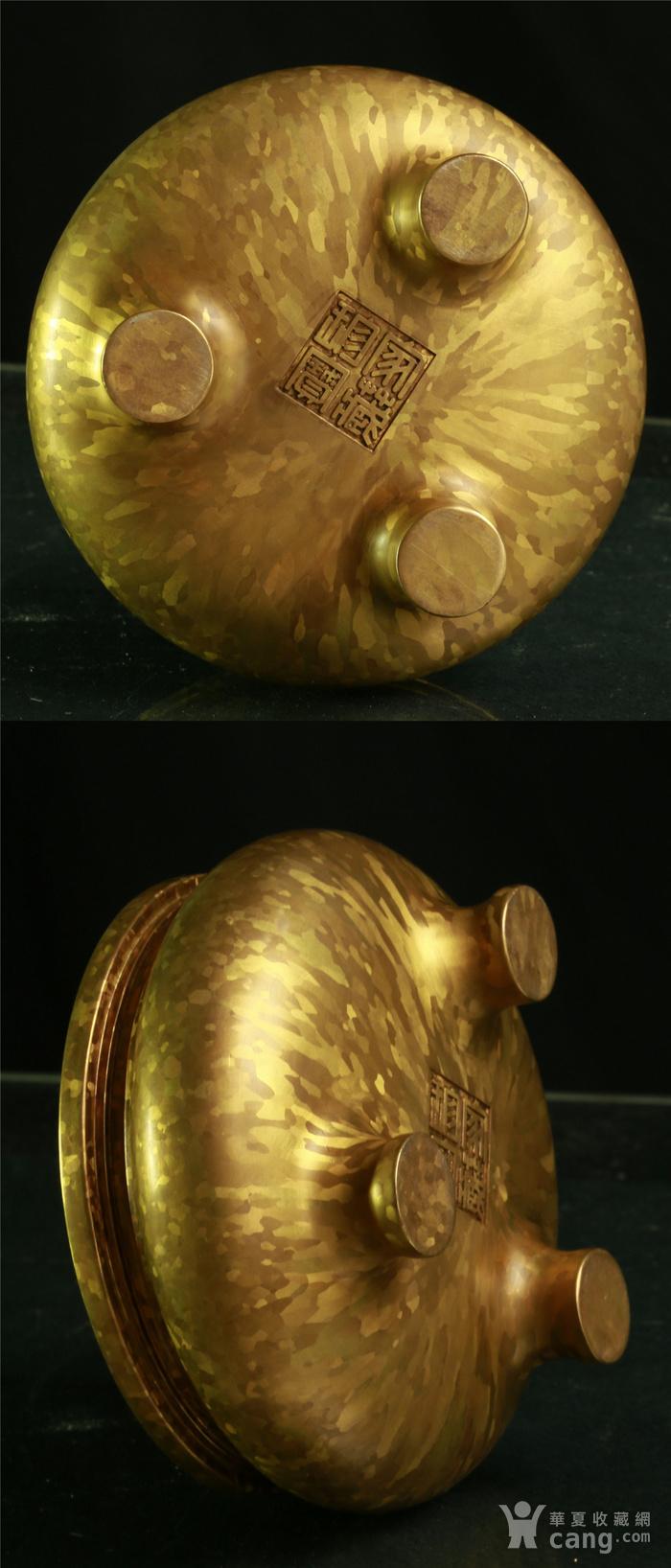 斑金铜三足 鬲式香炉图11
