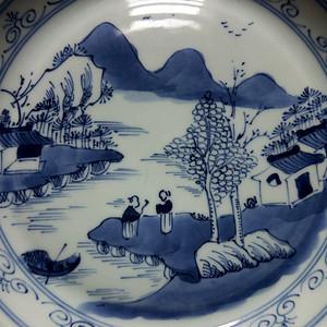 清中晚期:青花山水盘