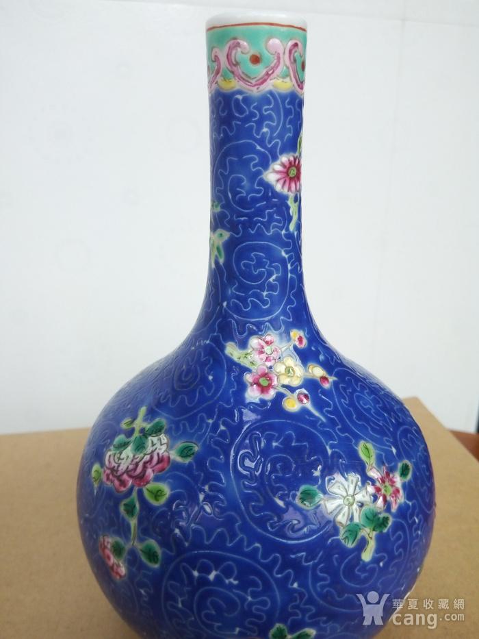 晚清:扎道兰地粉彩花卉�L颈瓶图1