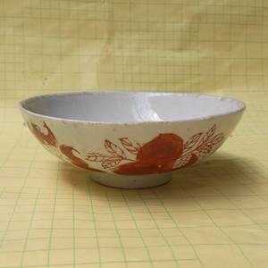 联盟 清代矾红万寿纹碗