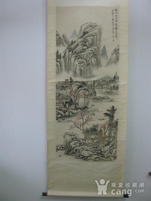 老山水画。蒲儒款的作品。画心124 49厘米图1