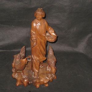 难忘的岁月之文革知青下乡喂鸡黄杨木精品木雕