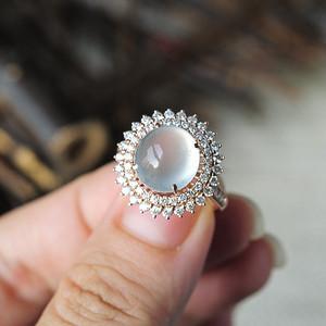 天然A货翡翠18K玻璃种强荧光蛋面钻石戒指2101