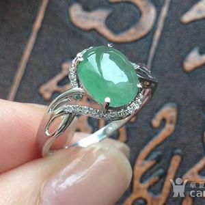 天然A货翡翠18K金浅绿蛋面钻石女戒指 1877