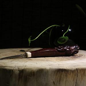 老料小叶紫檀 螭龙 茶刀