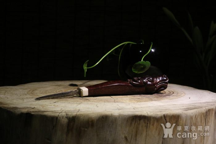 老料小叶紫檀 螭龙 茶刀图1