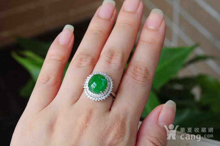 天然A货翡翠18K金冰种艳绿蛋面钻石戒指1945图3