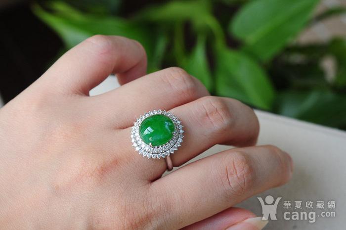 天然A货翡翠18K金冰种艳绿蛋面钻石戒指1945图4