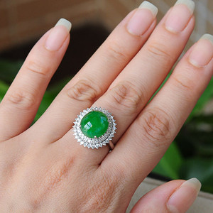 天然A货翡翠18K金冰种艳绿蛋面钻石戒指1945