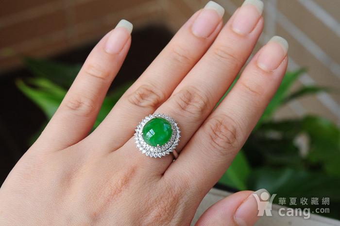天然A货翡翠18K金冰种艳绿蛋面钻石戒指1945图1