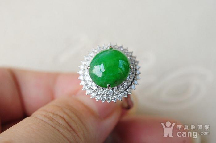 天然A货翡翠18K金冰种艳绿蛋面钻石戒指1945图7