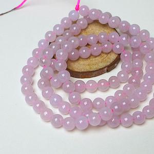 冰种粉紫圆珠项链