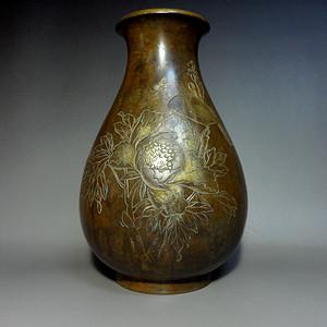 清代手工雕刻花鸟纹饰老铜瓶!