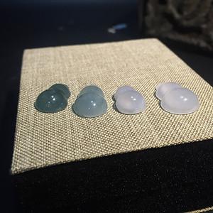 天然A货翡翠葫芦镶嵌件4枚 带证书
