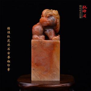 昌化掘性红花冻石古兽钮印章