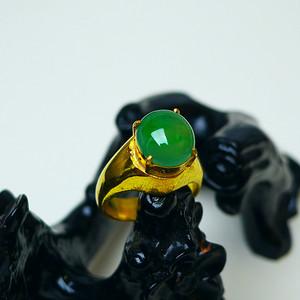 冰种满绿蛋型镶铜戒指