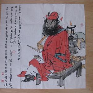 山东著名画家李学明人物。斗方69 69厘米