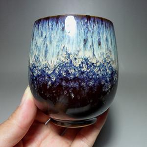 德化瓷窑变釉漂亮紫色茶杯 品茗杯!
