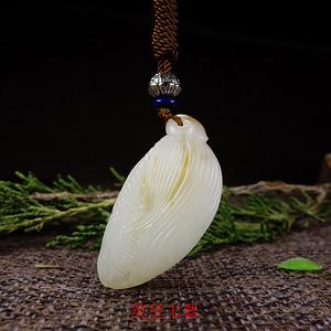 新疆和田玉籽料吊坠天然白玉挂坠玉石项坠玉米项链  包你发财