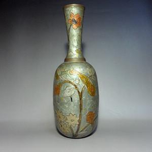 日本回流老七宝烧铜胎花卉纹花瓶!