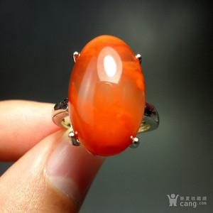 精美凉山南红柿子红火焰纹饱满大蛋戒指!