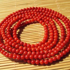金牌 天然 红珊瑚 216粒 链