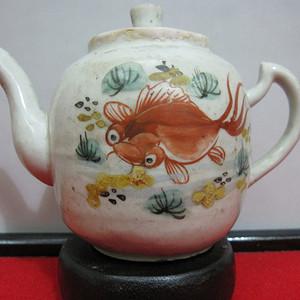 金牌   民国鱼藻纹小执壶