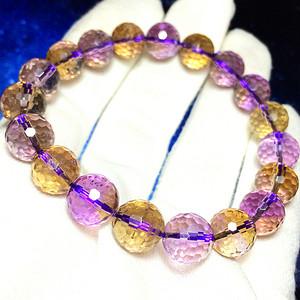 珍贵紫黄晶!纯天然AAA级全通透玻璃体鸳鸯水晶宝石刻面高档手链