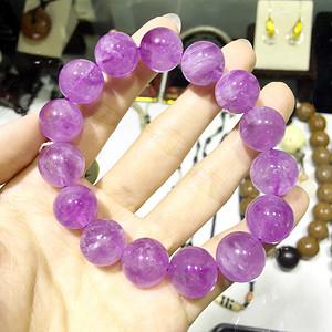 薰衣草紫晶!纯天然原矿无优化紫水晶浪漫紫罗兰大颗圆珠高档手串