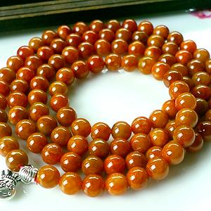 红翡佛珠!天然缅甸A货翡翠老坑种橙红翡108佛珠多圈手链!