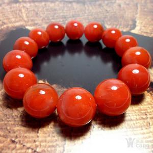 超值美品!精品凉山九口南红满色满肉柿子红大圆珠手串!