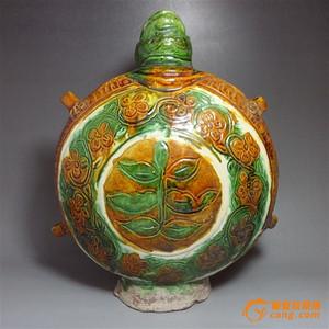 老三彩龟形穿带*囊壶!