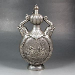 欧美回流:白银制象耳瓶